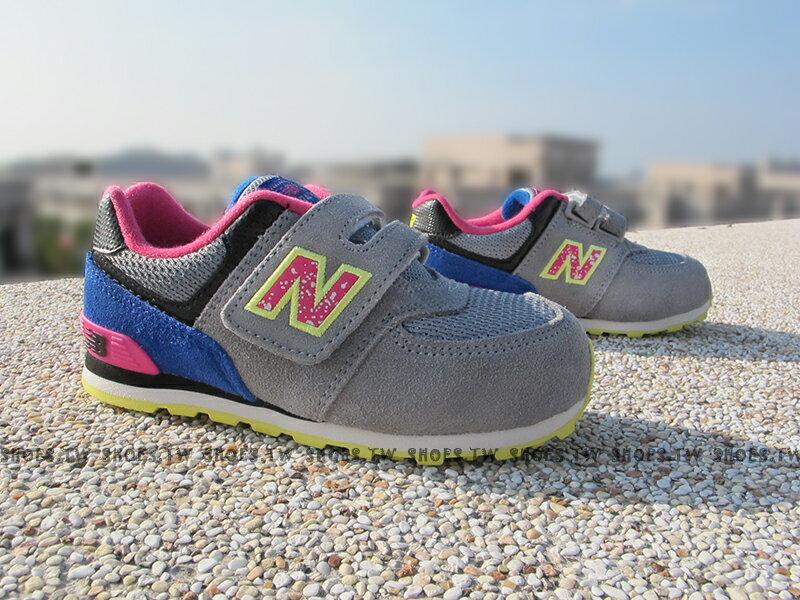 Shoestw【KG574O6I】NEW BALANCE 574 童鞋 運動鞋 小童 灰藍 麂皮 潑墨