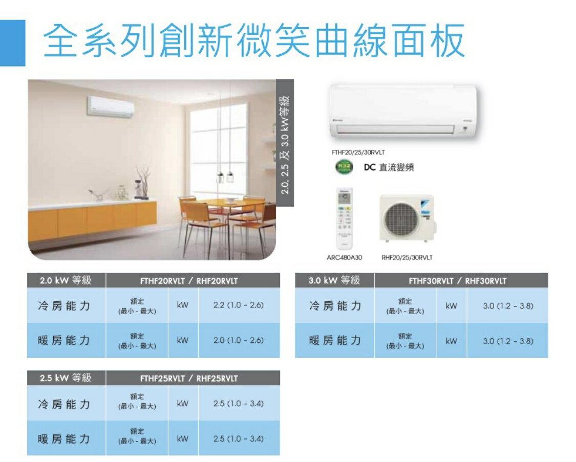 大金冷暖變頻分離式FTHF20RVLT 省電 PM2.5除塵 高品質 靜音 6