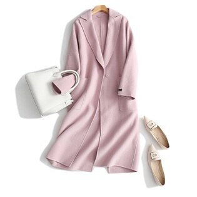 毛呢外套羊毛大衣-長款西裝領經典粉色女外套73ty9【獨家進口】【米蘭精品】