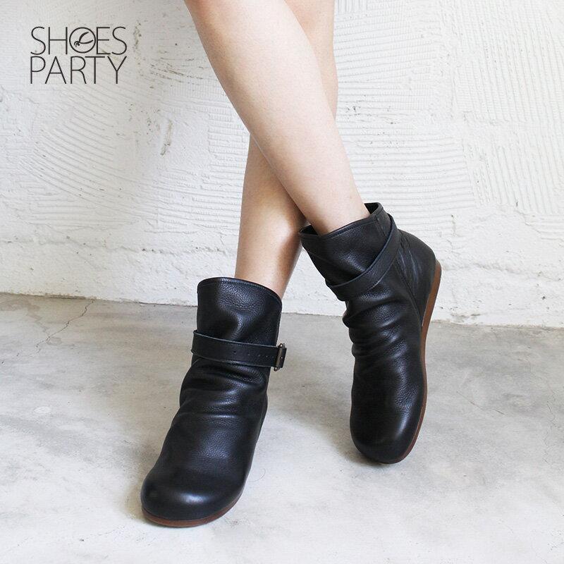 預購【F2-18106L】扣帶自然皺褶真皮中筒靴-日本製 1