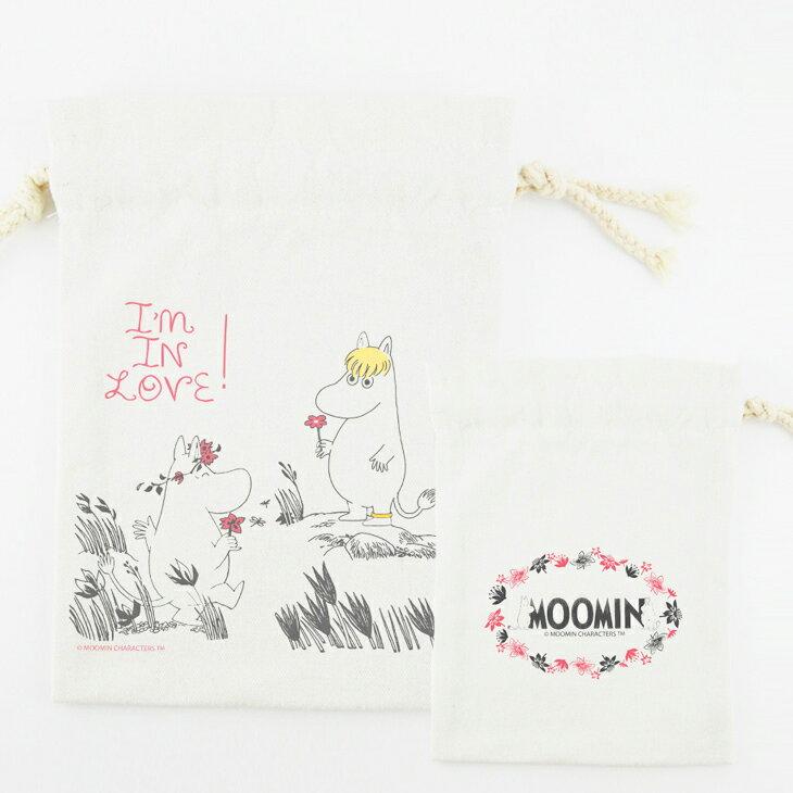 Moomin嚕嚕米授權 - 束口袋:【 獻上我的愛 】