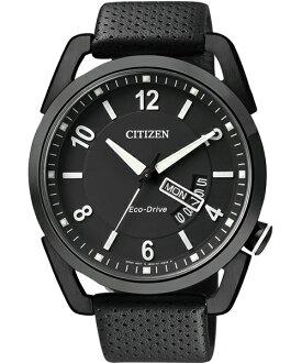 CITIZEN星辰AW0015-08E炫黑不敗典藏光動能腕錶/黑面42mm