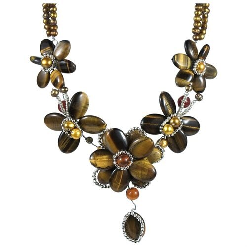 Brown Tiger Flower w Silver Beads .925 Silver Necklace 2