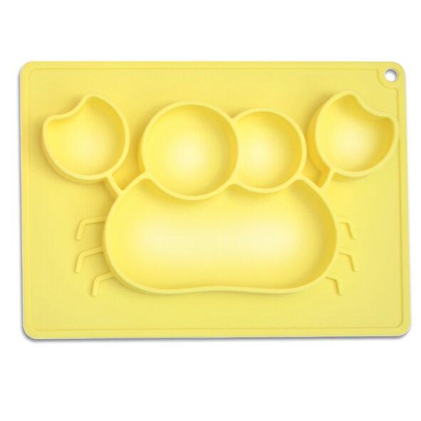genkibebi元氣寶寶螃蟹矽膠止滑餐盤-黃色
