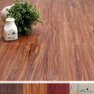 居家保暖組裝地板|日本和風 櫸木色 自粘式耐磨塑膠地磚-18入-100*600mm 厚1.5mm|日本牧野 腳踏墊 MAKINO