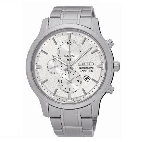 SEIKOCS極簡美學計時腕錶銀白面SNDG65P1(7T92-0TT0S)