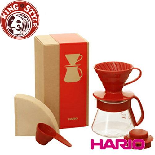 金時代書香咖啡 HARIO V60紅色濾杯咖啡壺組 / VDS-3012R