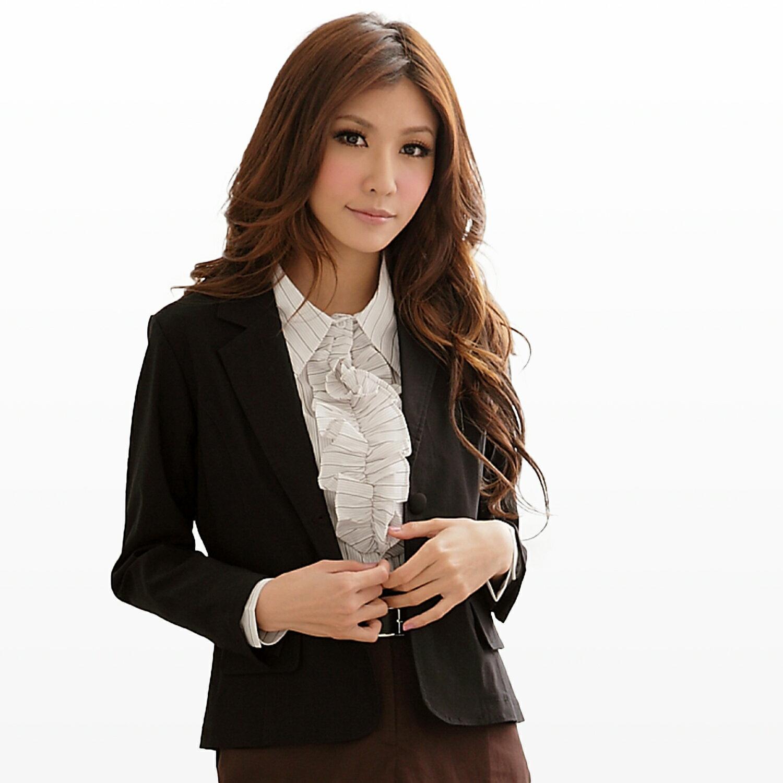西裝外套--都會女性的自信感-基本款素面包釦雙口袋西裝外套(S-3L)-J113眼圈熊中大尺碼 1