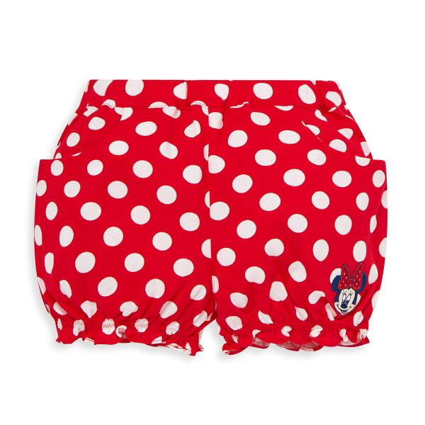 Dinsey米妮系列圓點荷葉球型短褲-大紅