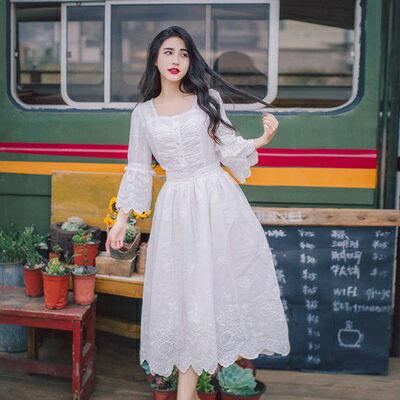 【米蘭秀】【奇珍館】:連身裙七分袖洋裝-甜美喇叭袖刺繡收腰女連衣裙73pu49【獨家進口】【米蘭精品】