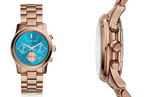 美國 Outlet 美國正品代購 Michael Kors MK 不鏽鋼 藍面 玫瑰金錶帶 三環計時日曆手錶腕錶 MK6164【輸入:coupon03 現折50】 3