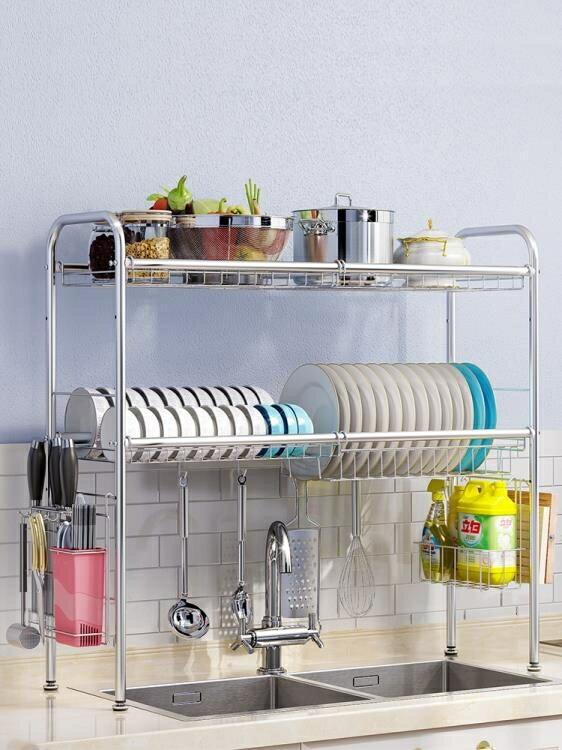 瀝水架 水池304不銹鋼碗架水槽瀝水架廚房置物架用品收納架晾放碗碟架子