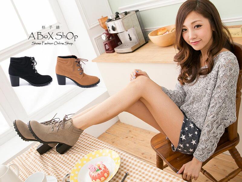 格子舖*【KW6661】MIT台灣製 韓版時尚質感麂皮 綁帶7CM粗高跟 短筒靴 短靴 3色 1