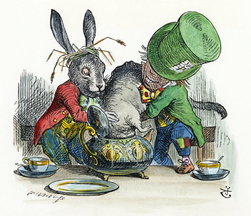 Carroll Alice 1865 Nthe March Hare And The Mad Hatter Trying To Put The Dormouse In The Teapot After The Design By Sir John Tenniel For The First Edition Of Lewis CarrollS AliceS Adventures In Wonderland Poster Print by (18 x 24)