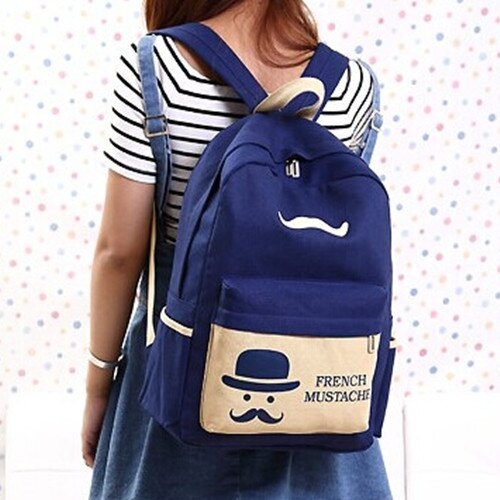 後背包.側背包.情侶包.旅行包【韓版法國小鬍子新款後背包】寶來小舖(現貨 附發票)