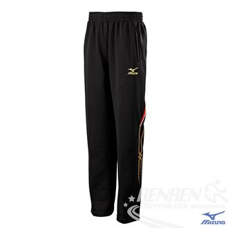 MIZUNO美津濃 男針織運動長褲 (黑*紅) 運動套裝 (下) 吸汗快乾、抗紫外線