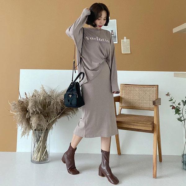 ANNAS 正韓 套裝 字母 上衣 長袖 T 包裙 半身裙 長裙 休閒 韓國