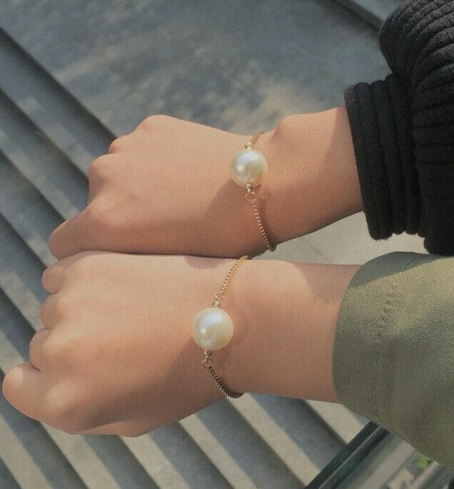 簡約金色珍珠蛇骨手鍊