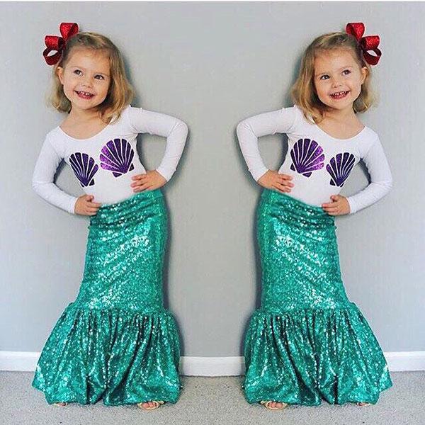 ins 兩件組 套裝 美人魚 貝殼 長袖 棉T 上衣 亮片 魚尾裙 長裙 洋裝  小童 中