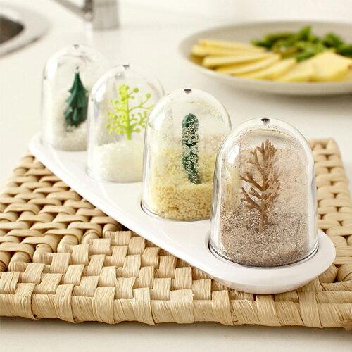 潘朵拉綠色生活概念館:【挪威森林】療癒系設計透明調味罐香料瓶四季植物(四入)