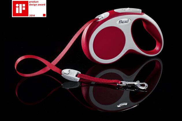 飛萊希伸縮牽繩-變換帶狀系列S-紅色