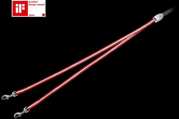 飛萊希伸縮牽繩-1對2雙頭牽繩-紅色