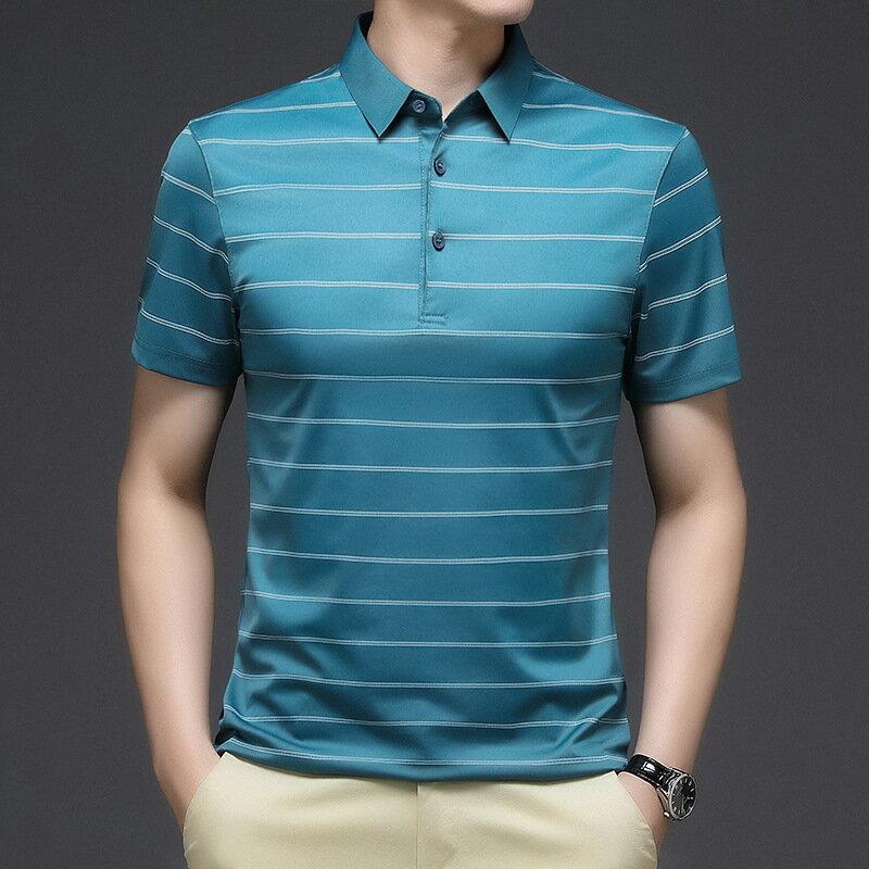 桑蠶絲男式polo衫夏季中年商務半袖打底體恤衫休閒舒適短袖T恤男