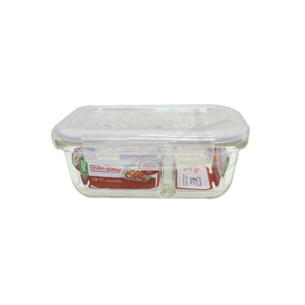 樂扣樂扣耐熱分隔玻璃保鮮盒長方形320ml便當盒LLG422D-大廚師百貨