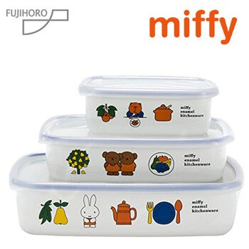 富士琺瑯/ Miffy米菲兔系列-琺瑯存儲容器3件組