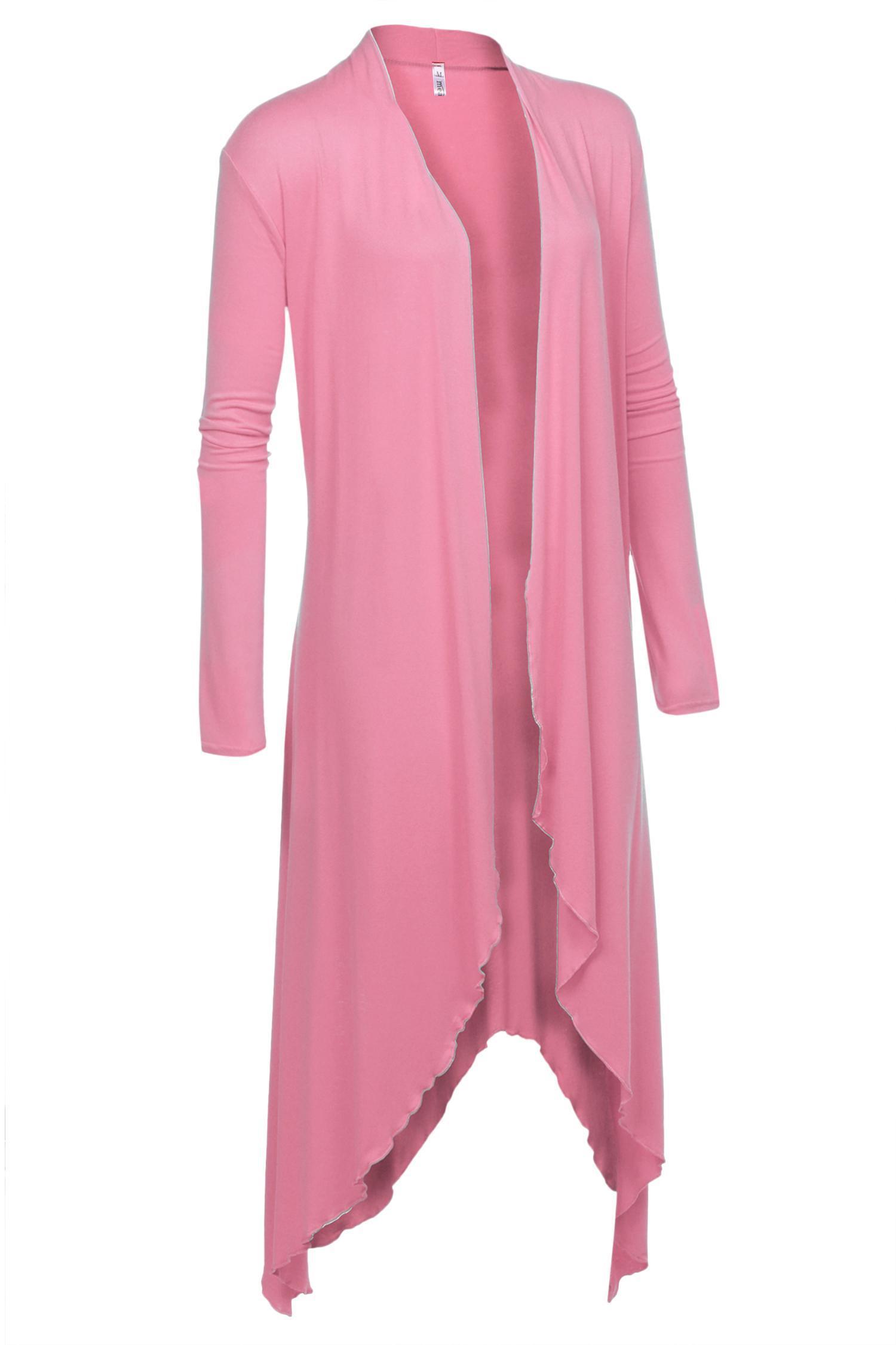 Women Irregular Open Stitch Solid Asymmetric Hem Long Cardigan Jacket 0