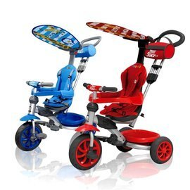 小奶娃婦幼用品:PUKU藍色企鵝-HappyRide遮陽三輪車(紅藍)