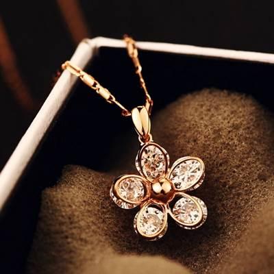 ~玫瑰金純銀項鍊 鑲鑽吊墜~優雅唯美小花風格七夕情人節生日 女飾品73bw33~ ~~米蘭