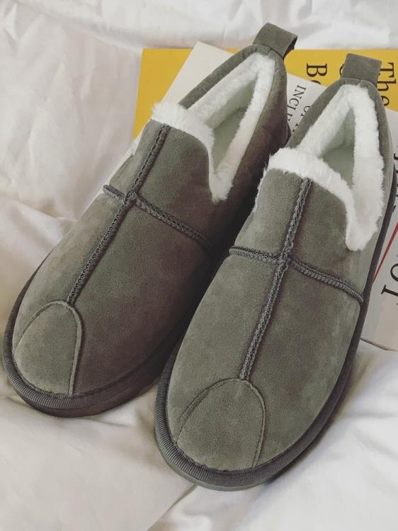 冬季一腳蹬雪地靴男女士加絨保暖防水面包鞋皮毛一體棉鞋低筒加厚