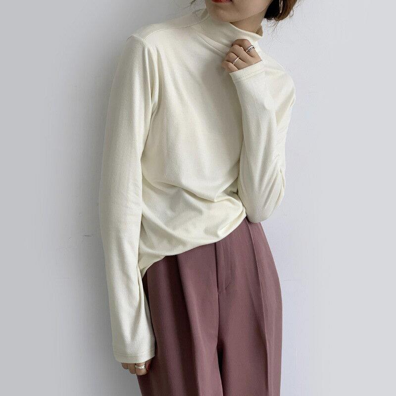 雙面絨純色半高領打底衫女2020秋冬韓版修身內搭長袖T恤