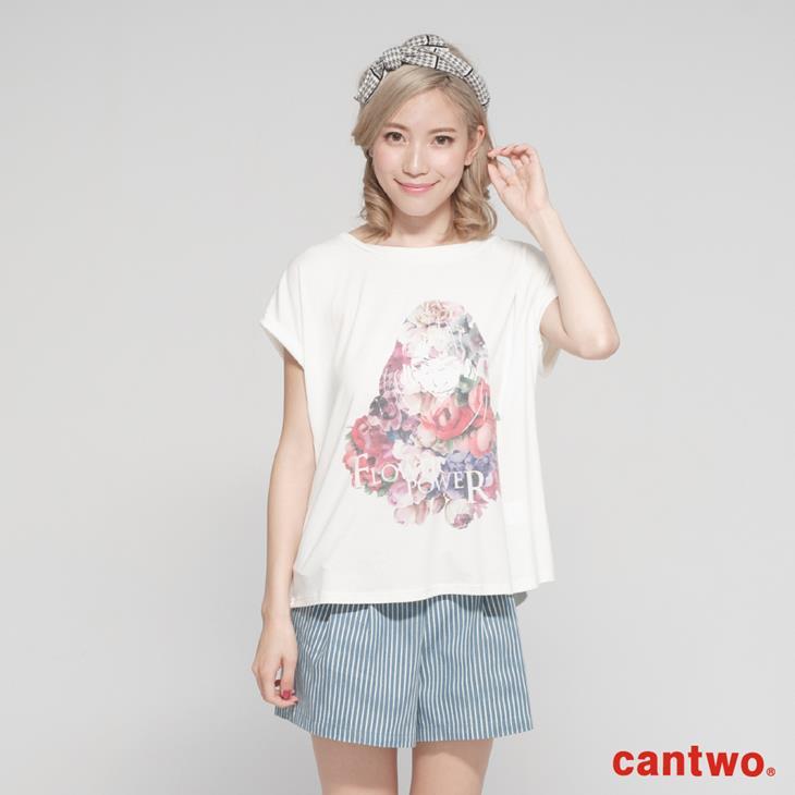 cantwo糖果色花朵女孩短袖T(共三色) 0