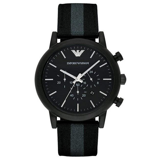 EMPORIO ARMANI 亞曼尼 AR1948休閒帆布計時腕錶/黑面43mm