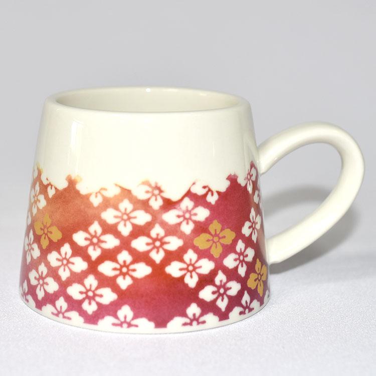 赤富士山 瓷馬克杯 日本製造 閃閃漸層花紋