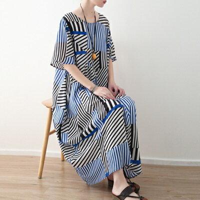 連身長裙寬版連衣裙-時尚新款不對稱條紋女上衣73sm32【獨家進口】【米蘭精品】