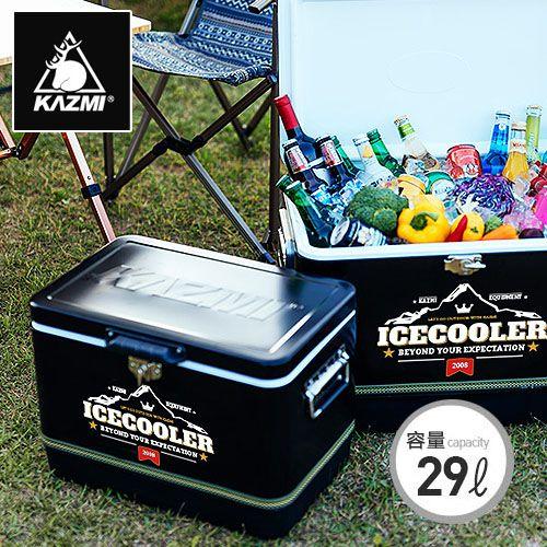 【露營趣】中和 KAZMI K6T3A014 黑爵士不鏽鋼行動冰箱29L 冰桶 鋼甲武士