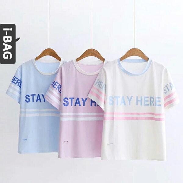 B.A.G*現+預*【TB1588】STAY字母拼色破洞短袖上衣(現+預)-3色