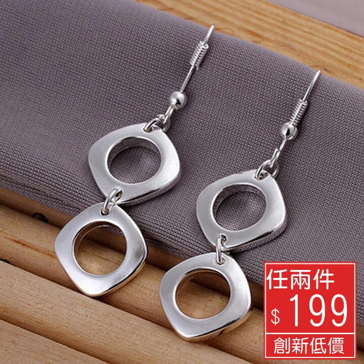 Missyoyo 925純銀百搭雙四方造型耳環【Q02YE024】-預購