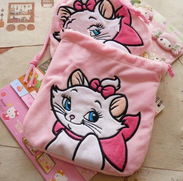 日本迪士尼瑪麗貓全身粉紅刺繡毛絨束口袋抽繩袋收納袋大容量多功能收納交換禮物貓迷