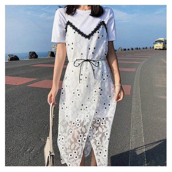 短袖洋裝蕾絲鏤空開衩吊帶裙長版衫兩件套短袖連身裙【NDF5041】BOBI0628
