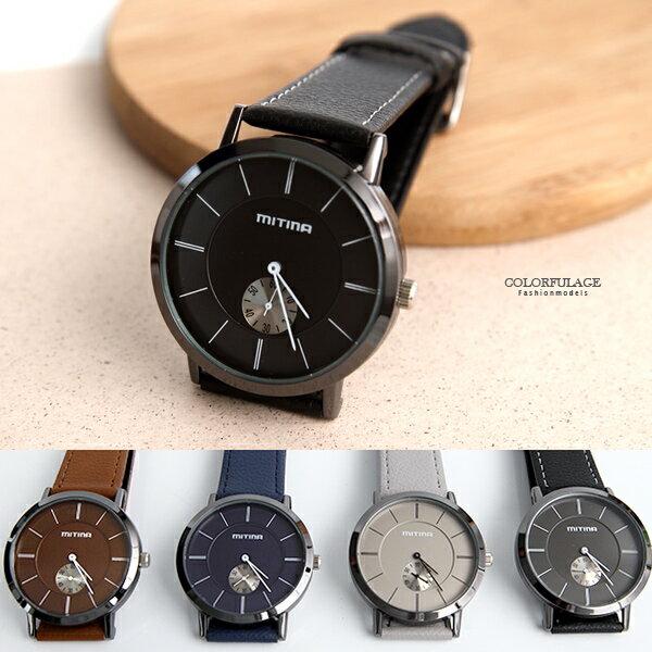 手錶 銀黑框獨立秒盤皮革錶【NE1962】柒彩年代