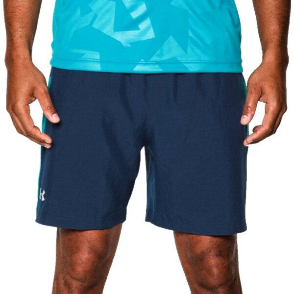 《UA出清6折》Shoestw【1253575-408】UNDERARMOURUA服飾短褲運動褲訓練褲有內裡7吋深藍水藍男生