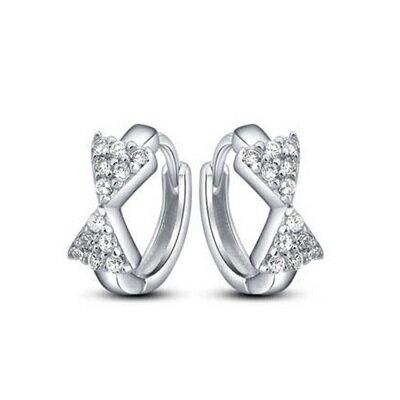 925純銀耳環鑲鑽耳飾~可愛蝴蝶結 生日情人節 女飾品73dy41~ ~~米蘭 ~