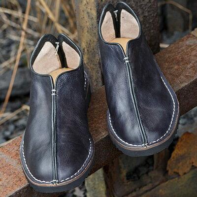 短靴真皮套腳靴子-純色百搭時尚懶人男靴73kk48【獨家進口】【米蘭精品】