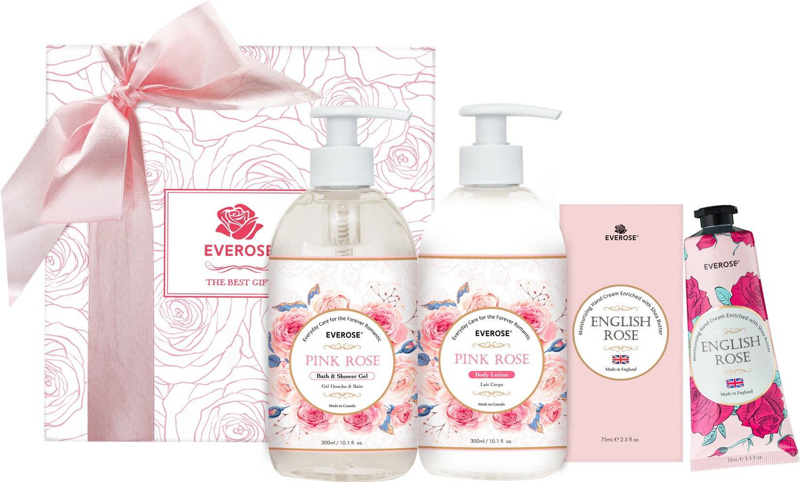 Everose愛芙蓉 薔薇玫瑰(沐浴精 300mL+保濕乳液 300mL+英國玫瑰香水護手霜 75mL)+粉紅萬用空盒