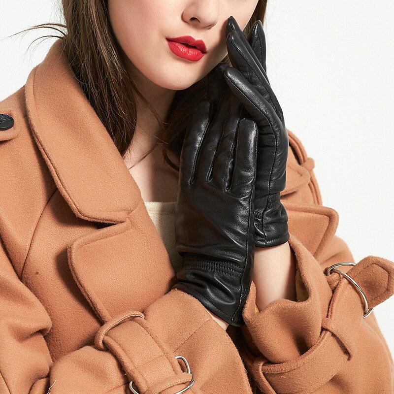 真皮手套保暖手套-羊皮加絨簡約版型女手套73wm58【獨家進口】【米蘭精品】 2