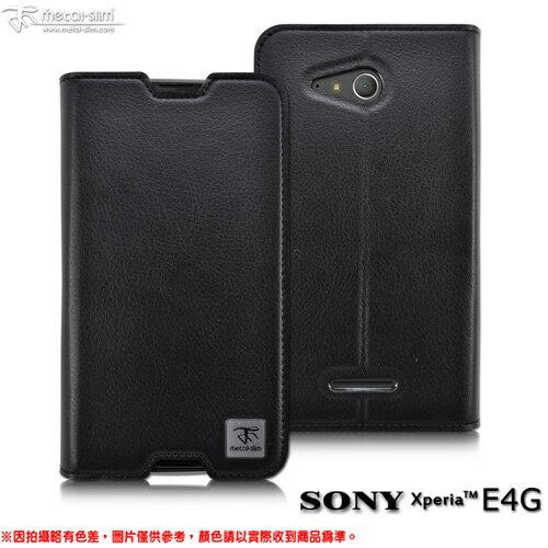 【UNIPRO】Metal-Slim SONY Xperia E4G 超薄瘋馬紋多層口袋設計站立皮套 E2053